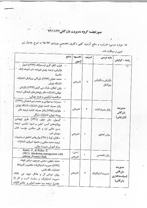 منابع دکتری مدیریت 95 دانشگاه تهران - مدیریت بازرگانی