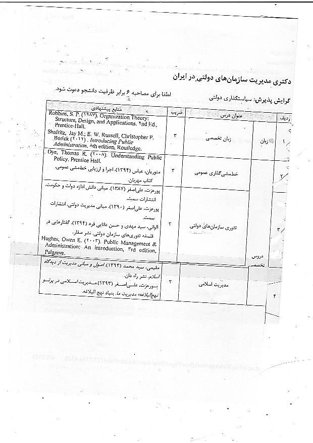 منابع دکتری مدیریت 95 دانشگاه تهران - مدیریت سازمان های دولتی